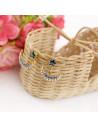 Cercei eleganti aurii in forma de floare, decorati cu email