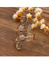 Inel lat auriu cu model grecesc si cristale