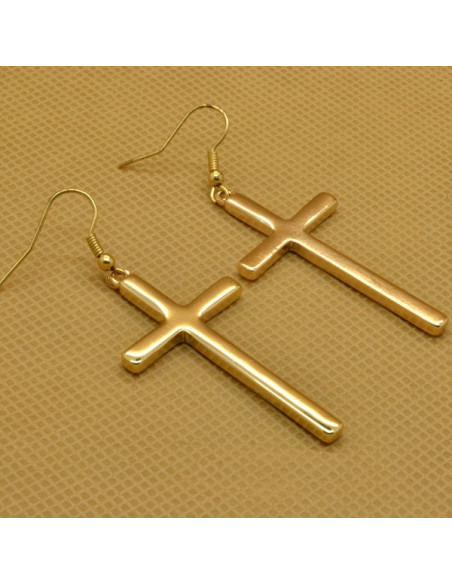 Cercei aurii cu cruci simple, mici