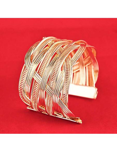 Bratara lata aurie tip cuff, lucioasa, cu spirale