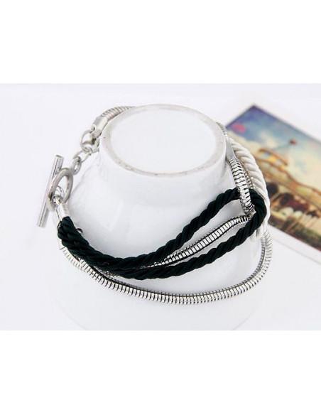 Bratara argintie monocroma cu lant tubular si snururi