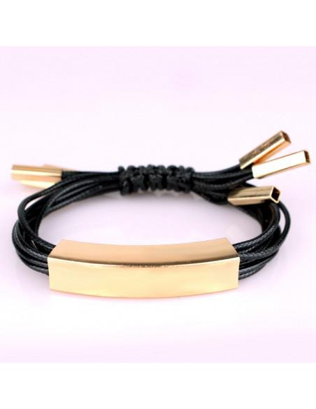 Bratara din snururi negre si tuburi aurii