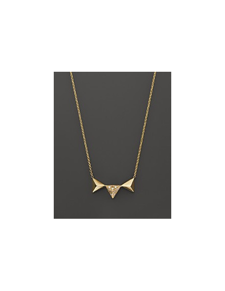 Lantisor subtire auriu cu trei triunghiuri si cristale