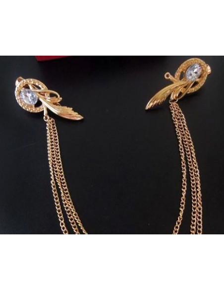 Clame aurii cu frunze si cristale, prinse cu lanturi