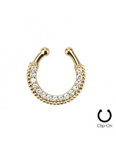 Inel fals pentru nas Septum Ring tip coronita cu striatii si cristale