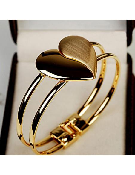 Bratara indragostitilor cu inima metalica eleganta, auriu lucios