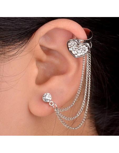 Cercei tip ear cuff, inimioara mare cu cristale si lantisoare