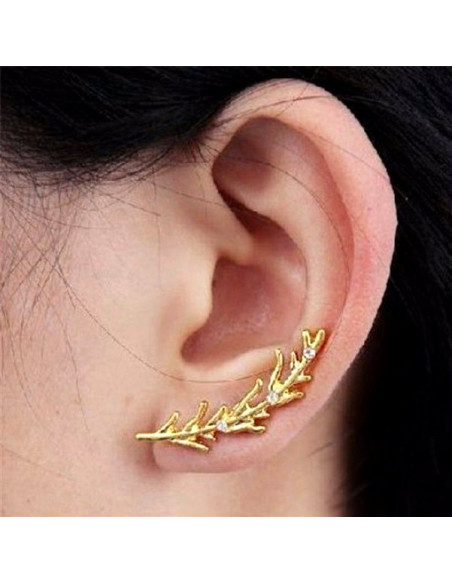 Cercel tip ear cuff, ramurica cu cristale