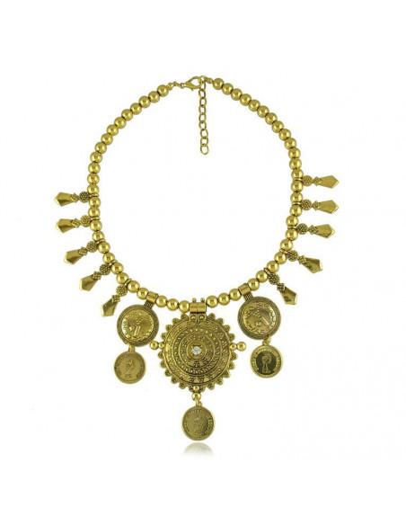 Colier vintage de inspiratie indiana, disc mare cu flori si cristal
