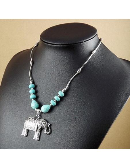 Lant argintiu cu medalion elefant indian si pietre din howlit turcoaz