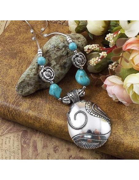 Lant argintiu model indian cu pietre howlit si frunze