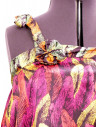 Bluzita racoroasa cu imprimeu din pene multicolore, din matase