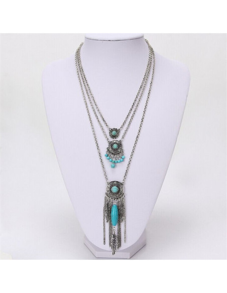 Lant argintiu model indian pe cinci randuri  cu medalioane howlit