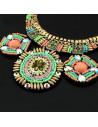 Colier bogat cusut cu margele colorate si medalioane ceramice
