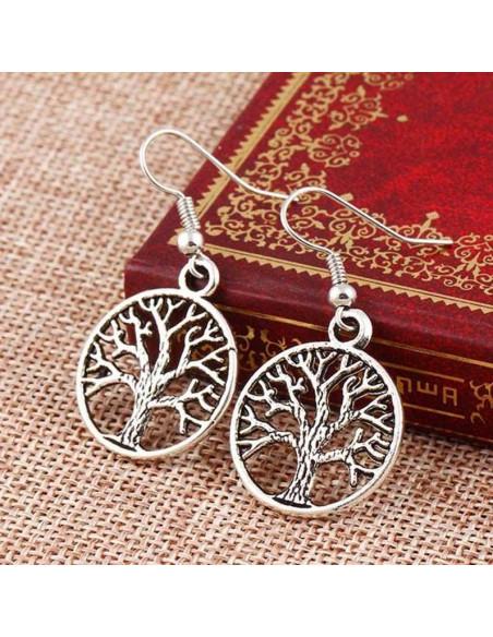 Cercei argintii boho chic cu copacul vietii