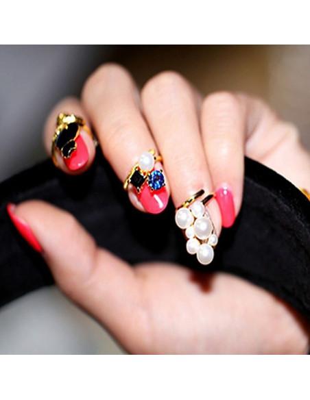 Set inele pentru unghie, cu perle si cristale