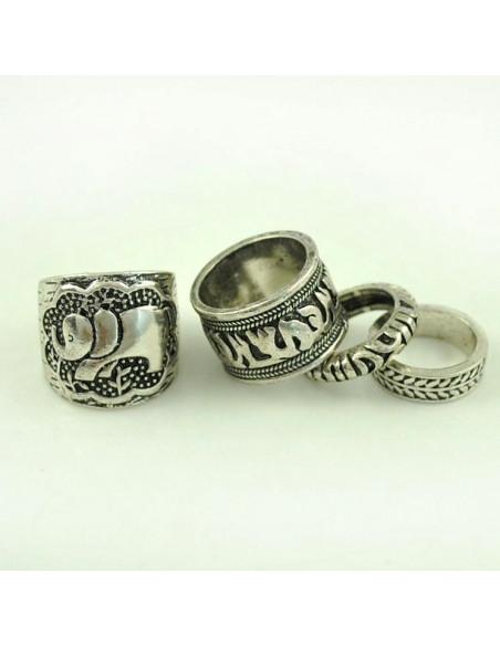 Set 4 inele indiene agintii masive, cu elefant