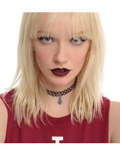Colier tattoo choker negru cu hamsa si elastic la baza gatului