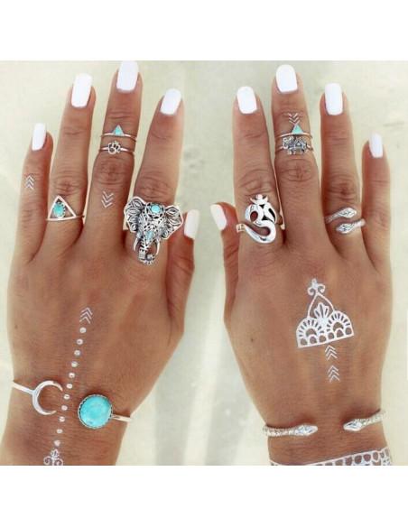 Set 8 inele indiene argintii subtiri, cu elefanti, OM si triunghiuri