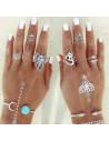 Set 8 inele argintii, cu motive indiene si pietre turcoaz