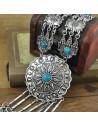 Colier argintiu de inspiratie indiana, model floral, banuti si margele