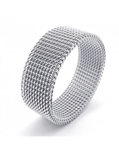 Inel Lat Argint Tip Verigheta Model Impletit Flexibil Marime 17