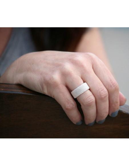 Inel lat argint, tip verigheta, model impletit flexibil