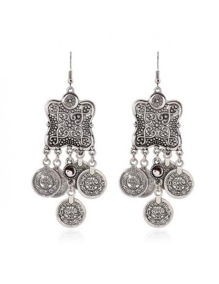 Cercei cu banuti argintii indieni, model etnic patrat