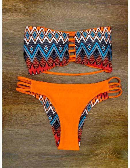 Costum de baie cu doua fete, imprimeu tribal geometric / portocaliu