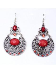 Cercei model indian argintiu patinat cu cristale turcoaz si howlit