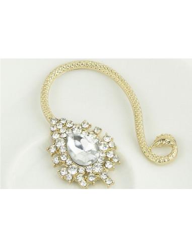 Cercel ear cuff fashion cu cristale mari, model serpuit