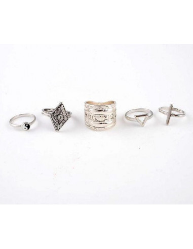 Set 5 inele vintage argintii cu model negru