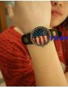 Ceas vintage, model cu cadran rotund SUA, ceas statele unite, curea din piele naturala