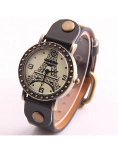 Ceas vintage cu cadran rotund si turnul Eiffel alb negru, Paris