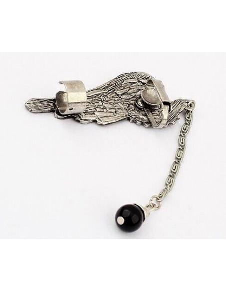 Cercel tip ear cuff, model Hawk Wing cu cristale turcoaz