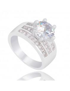 Inel de logodna argintiu cu cristal mare central si trei randuri de cristale mici