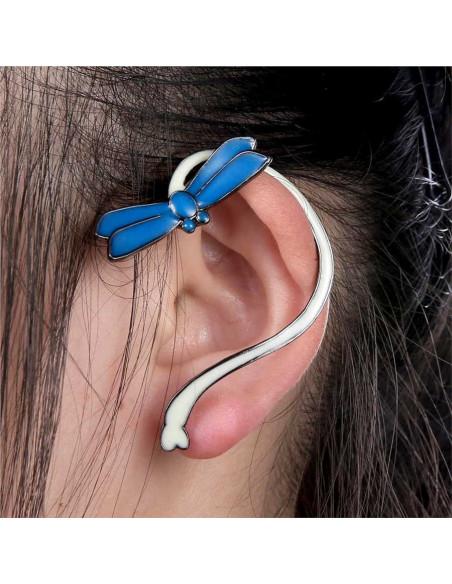 Cercel ear cuff fosforescent, model cu libelula