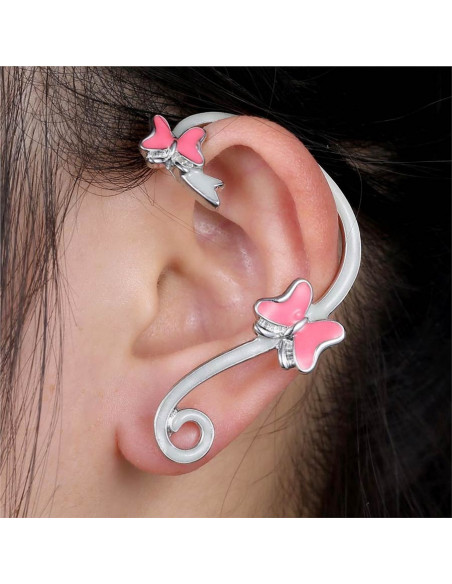 Cercel ear cuff fosforescent, model cu fluturi