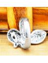 Inel argintiu sarpe indian incolacit, cu floare pe cap