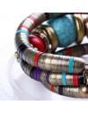 Bratara africana tip spirala, din inele metalice si margele multicolore