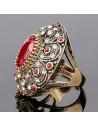 Inel vintage masiv, model baroc cu cristale