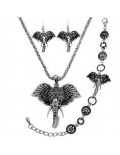 Set argintiu indian, cu elefanti si cristale negre