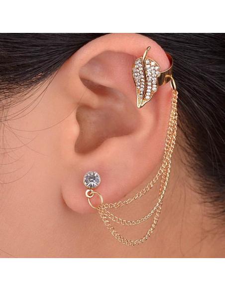 Cercel tip ear cuff, frunza mare cu cristale si lantisoare