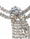Bentita pentru par argintie cu lantisoare si medalion cu cristale albe