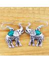 Set argintiu indian, cu elefanti si pietre verzi