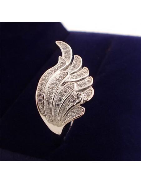 Inel placat cu argint, model aripa cu multe cristale mici