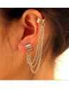 Cercel tip ear cuff, model cu trei lantisoare si prindere dubla