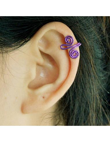 Cercel ear cuff, doua spirale mici colorate