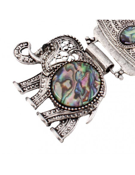 Set colier si cercei vintage model indian cu elefant si medalioane multicolore