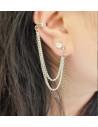 Cercei tip ear cuff, model cu lanturi argintii si negre